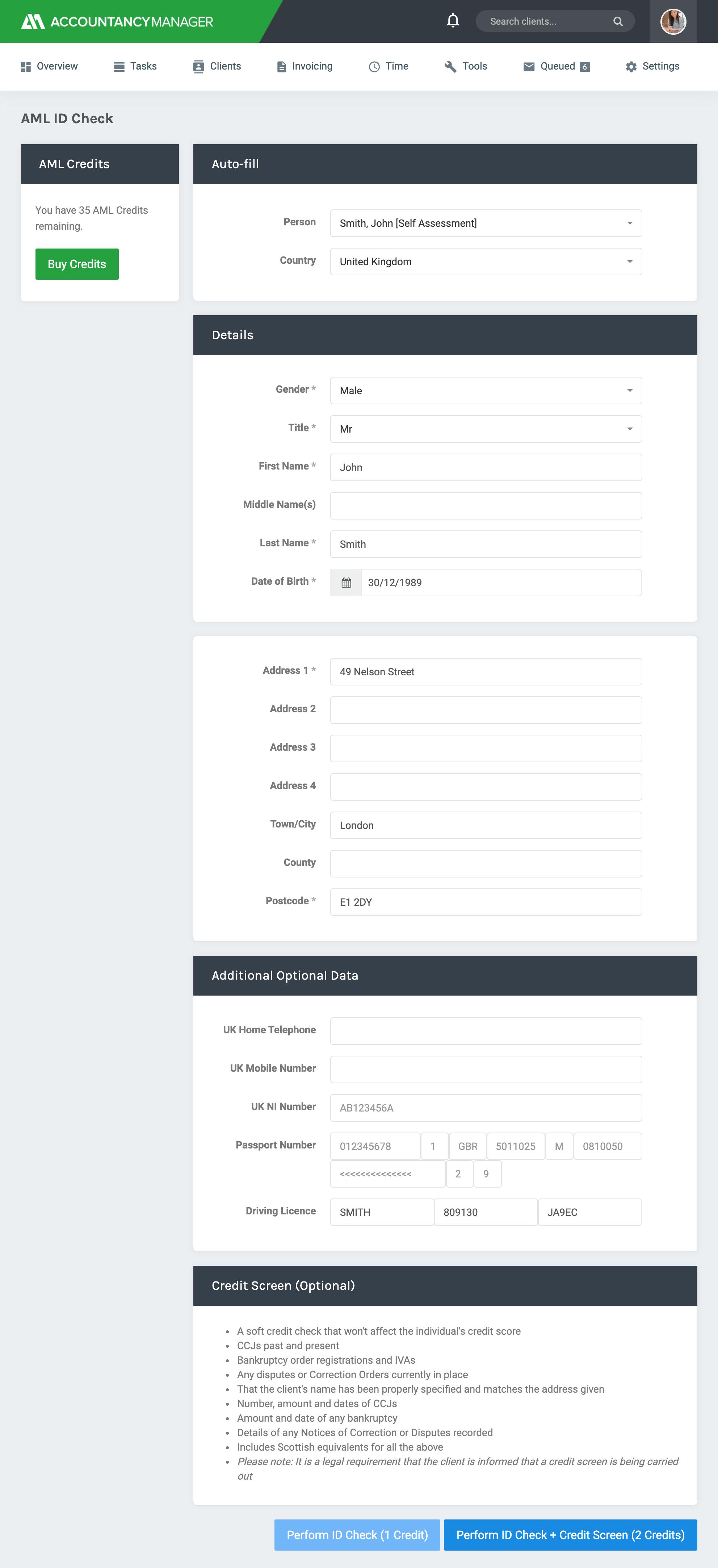 Run AML ID and credit checks
