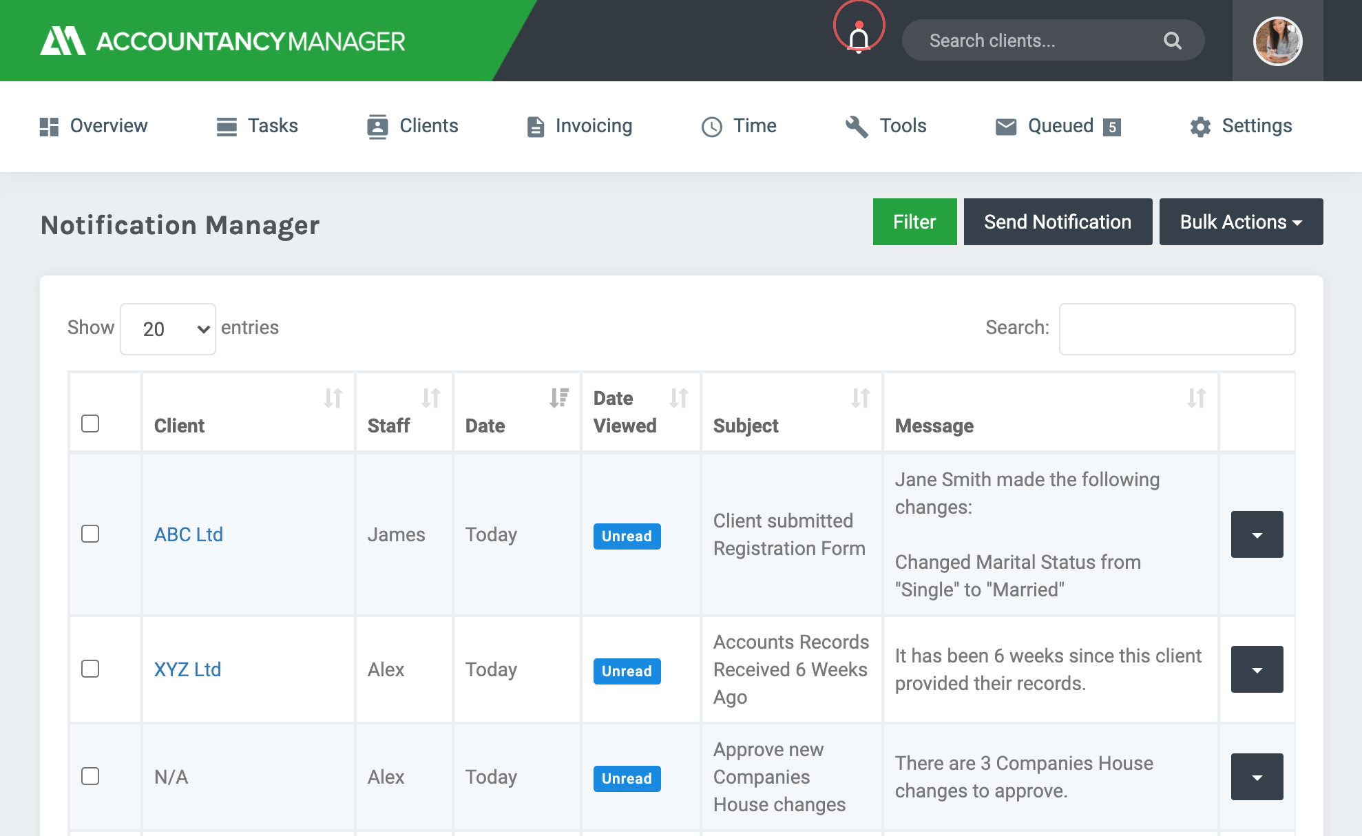 Manage all notifications in one place